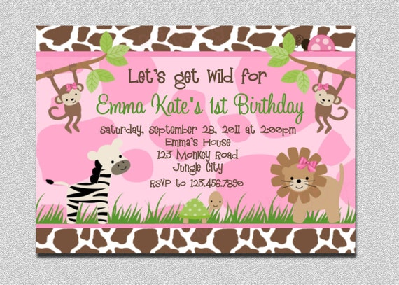 Safari Birthday Invitation Jungle Part Party Zoo Animal