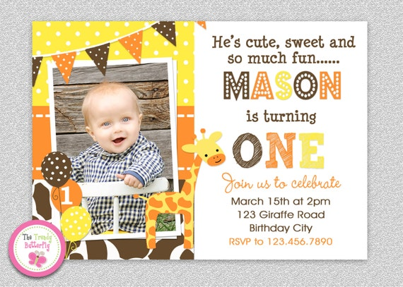 giraffe birthday invitation giraffe birthday party etsy