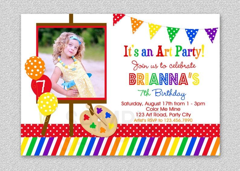 Art Birthday Party Invitations Paint And Create Art Birthday Etsy