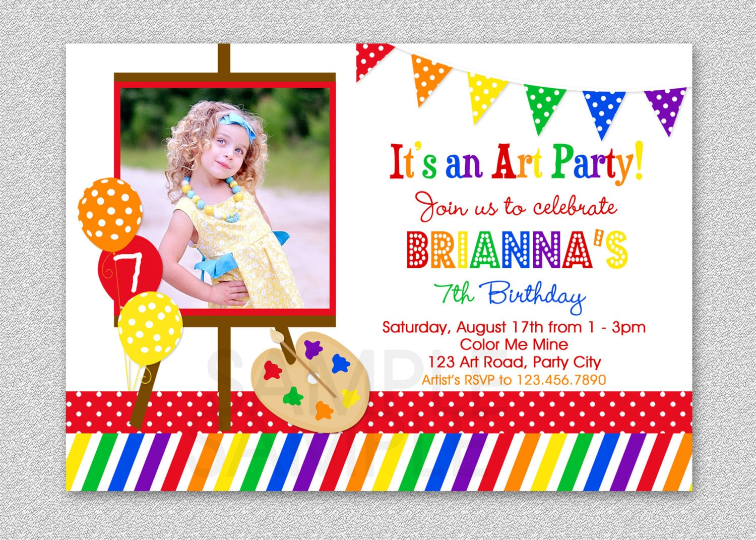 Art Birthday Party Invitations Paint And Create Kids Photo Invitation Girls