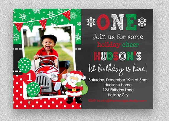 christmas birthday invitation santa winter wonderland 1st etsy
