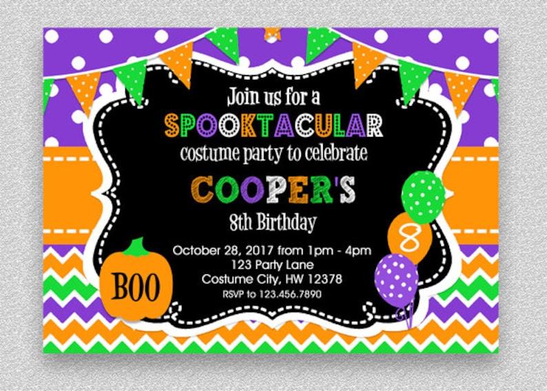 Halloween Birthday Invitation Kids Party