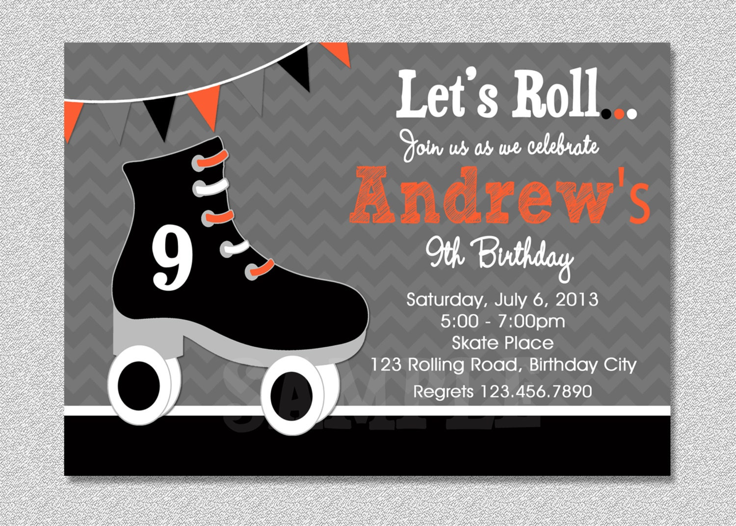 Boys Skating Birthday Invitation Roller Party Printable