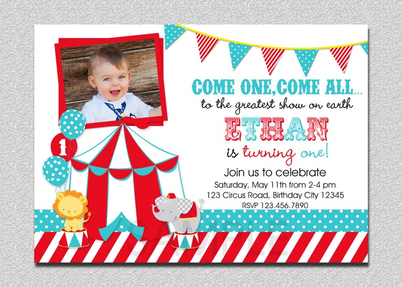 Circus Birthday Invitation 1st Party