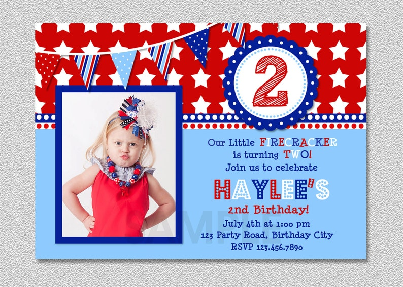 4th Of July Birthday Invitation Red White And Blue