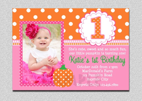 Pumpkin Birthday Invitation 1st Party Pink Printable Boys Or Girls