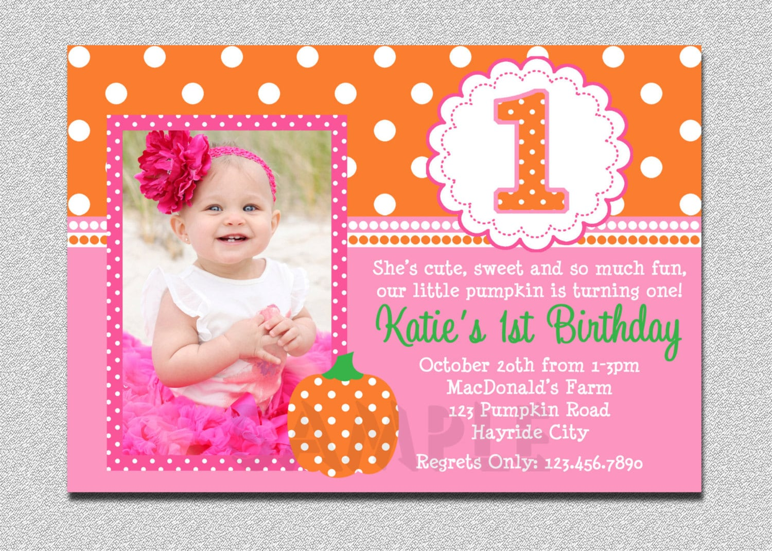 Pumpkin Birthday Invitation Pumpkin 1st Birthday Party Etsy