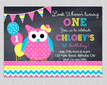 Owl Birthday Party Invitations 2nd Birthday Invitation