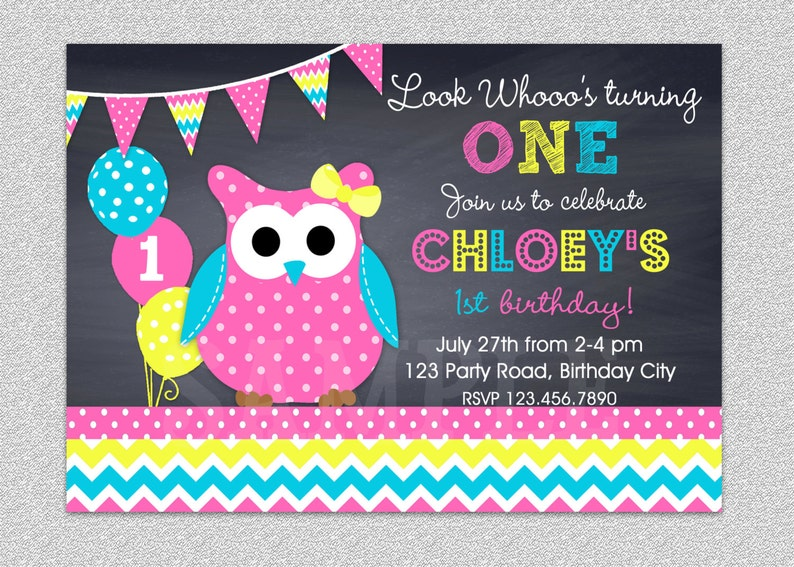 Owl Birthday Invitation Chevron Party Image 0