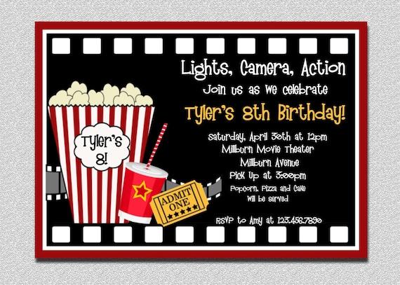 movie birthday invitation movie night birthday party etsy