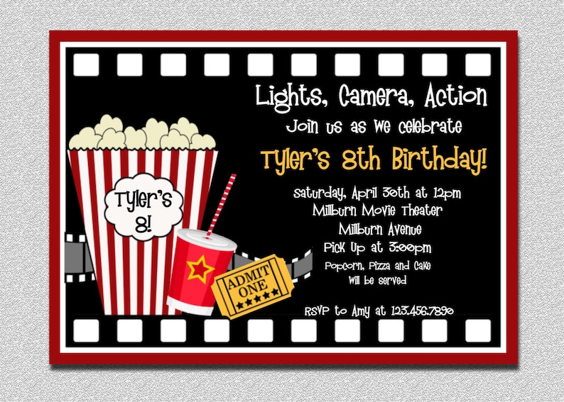 Movie Birthday Invitation Night Party