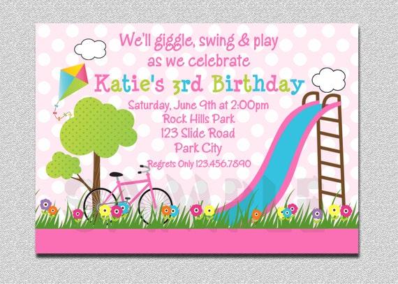 Birthday Party Invitations Girls Pink Playground Swing Slide