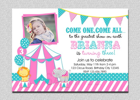 Carnival Birthday Invitation 1st