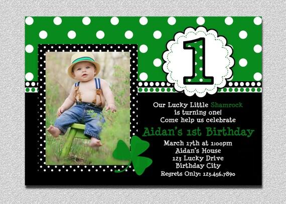 St Patricks Day Birthday Invitation 1st