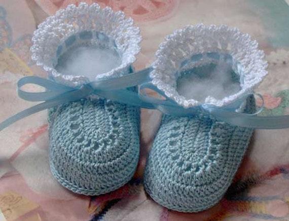 Newborn Reborn 0-3 Months Baby Blue Boots Handmade Crochet Baby Bootees