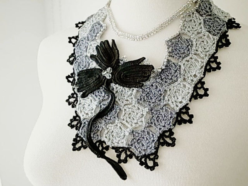 06cfce2e3791b Irish Crochet Lace Jewelry (Grape Vine) Bib Necklace, Fiber Art Necklace,  Statement Necklace, Crochet Necklace