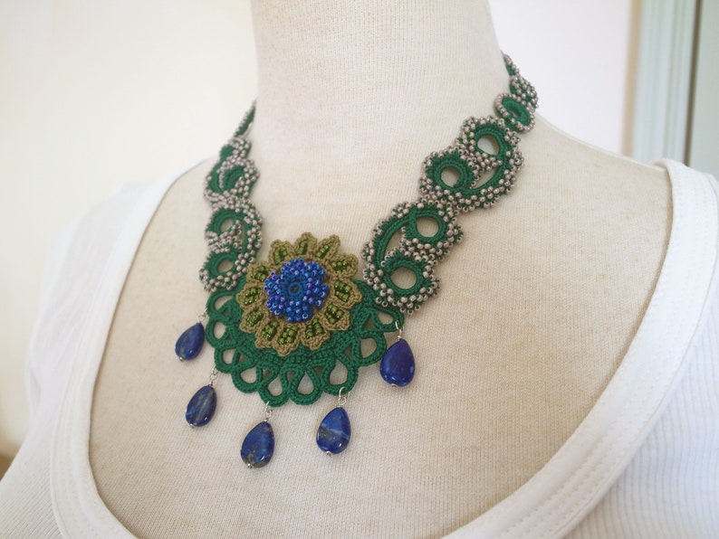 f9aec6557d072 Irish Crochet Lace Jewelry (Archaic Beauty 2-b) Fiber Art Necklace, Bib  Necklace, Statement Necklace,Crochet Necklace