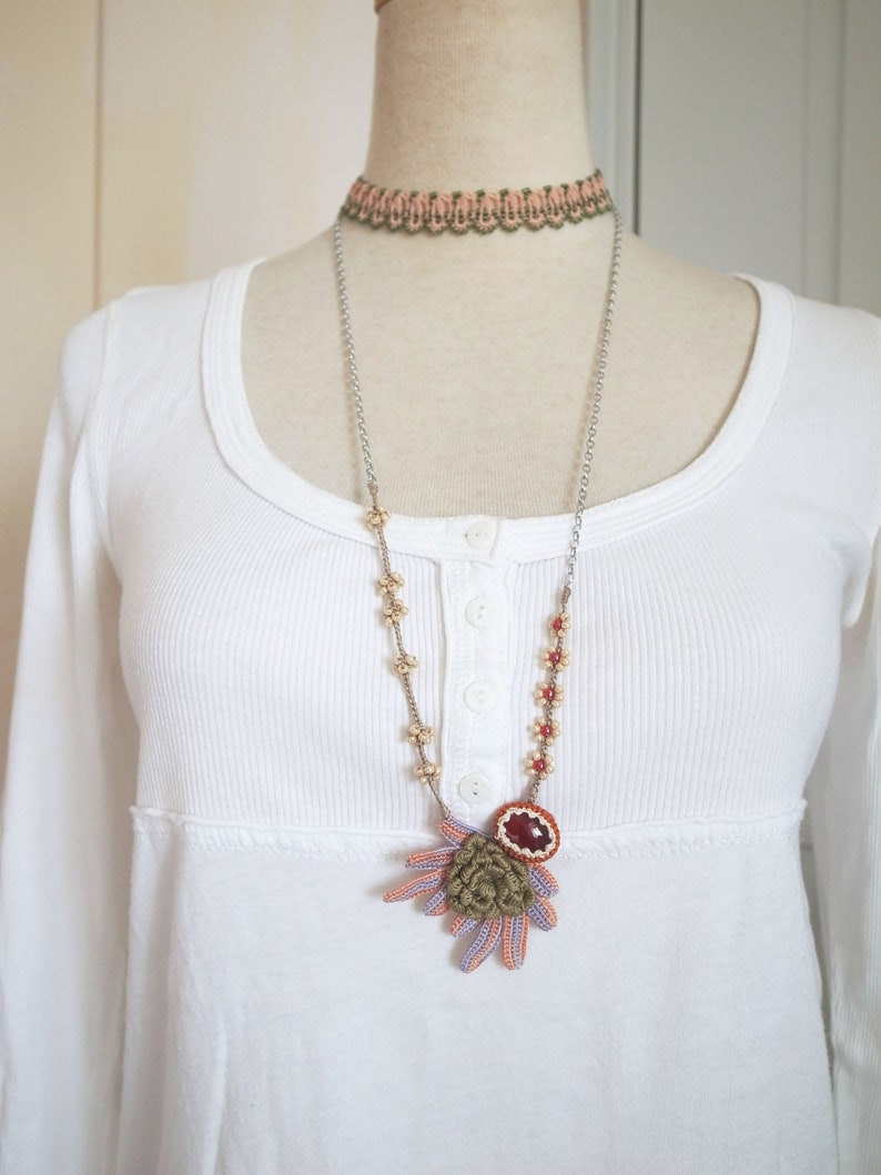 a9cd1afb2acfd Irish Crochet Lace Jewelry (Boho Chic 2-b) Fiber Art Necklace, Multi Chain  Necklace, Crochet Necklace