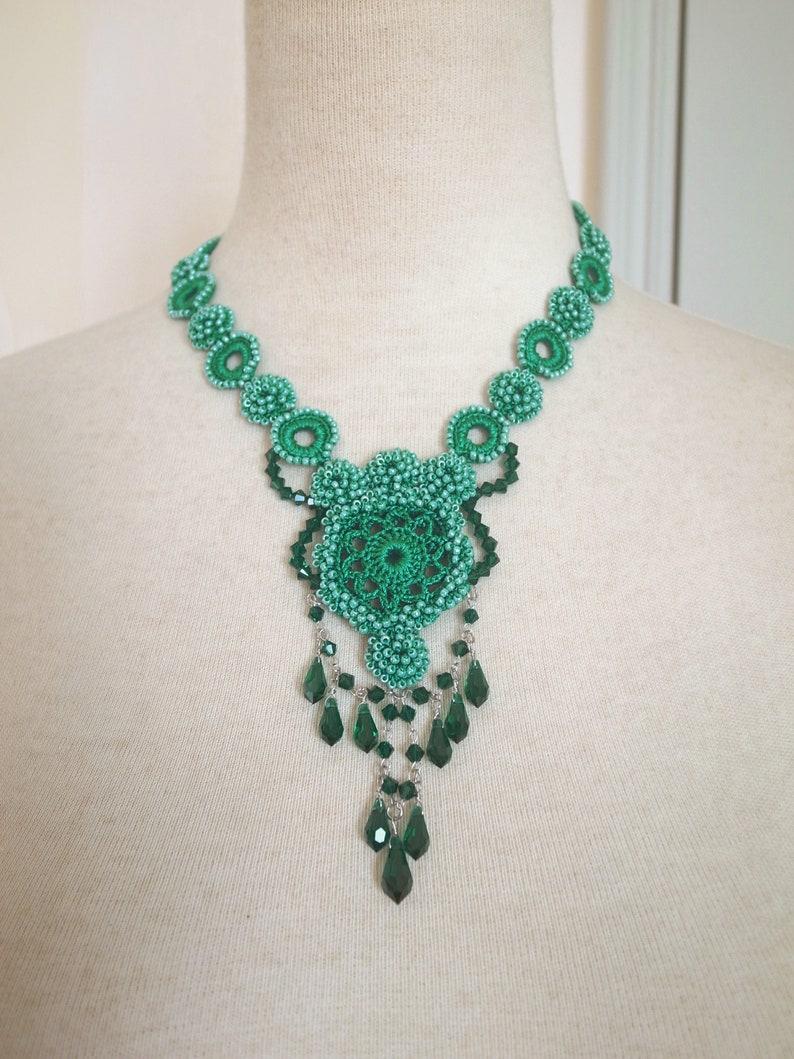 502e4a30e4bd7 Irish Crochet Lace Jewelry (Dancing Brook 6) Fiber Art Necklace, Bib  Necklace, Statement Necklace,Crochet Necklace