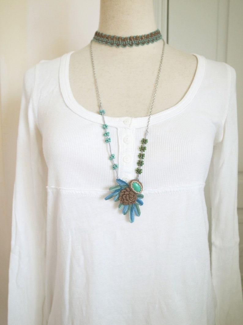 a1f9f5c7e3348 Irish Crochet Lace Jewelry (Boho Chic 2-a) Fiber Art Necklace, Multi Chain  Necklace,Crochet Necklace