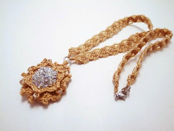 fb3cd6fe3dd01 Irish Crochet Lace Jewelry (Camellia 4-b), Lace Necklace,Fiber Art  Necklace, Crochet Necklace