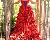 Burnt Orange Wedding Dress Custom Made