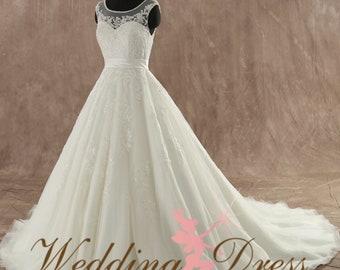 Stunning Fairytale Wedding Dress with illusion neckline Custom Made to your Measurements from award winning Bridal Salon