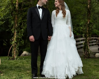 Modest Wedding Dress With Sleeves And French Lace Bodice English Net Skirt By Award Winning Bridal Salon In Teaneck NJ