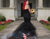 Black Ombre Wedding Dress, Black Bridal Gown, Gothic Wedding Dress, Alternative Wedding Dress with Tulle Mermaid Style Custom Made