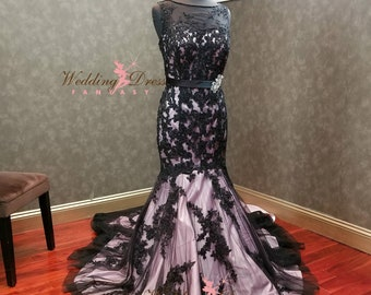 Black and Blush Wedding Dress Mermaid Shape Custom Made to Your Measurements by Award Winning Bridal Salon