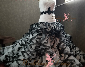 Black and Ivory Wedding Dress with Gorgeous Ruffles Gothic Bridal Gown Custom Made to your Measurements