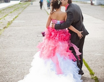 Dip Dye Wedding Dress in Pink and White Ombre Style Custom Handmade to your Measurements Colorful Bridal Gown