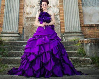 Spectacular Purple Wedding Dress Alternative Gothic Custom Made to Your Measurements  Colorful