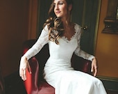 Lace Wedding Dress with Sleeves, Mermaid Wedding Dress with Long Sleeves, Plunging Back Lace Wedding Dress, Vintage Inspired Lace Wedding
