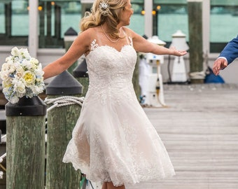 Short Wedding Dress Beach Bridal Dress by Award Winning Wedding Dress Fantasy