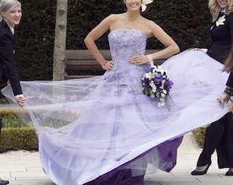 Lilac Wedding Dress Strapless with Lace A-line Colorful Lavender Bridal Gown Handmade to your Measurements Floor Length