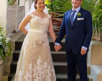 Ivory Lace and Champagne Wedding Dress Mermaid Wedding Dress   Etsy