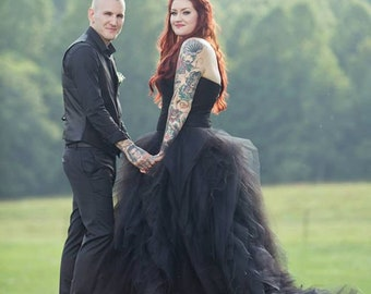 Black Wedding Dress with Tulle Custom Made to your Measurements Sweetheart Neckline by Award Winning Bridal Salon