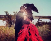 Red Wedding Dress with Black Accents Custom Made to your Measurements by Award Winning Bridal Salon
