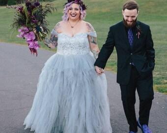 Gray Wedding Dress Custom Made to your Measurements