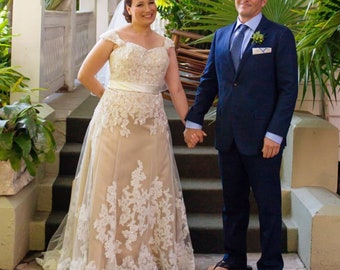 5bcfdbaf4f3 Stunning Champagne Wedding Dress with Ivory Lace