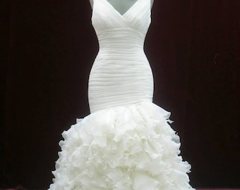 Beautiful Organza Pleated Bridal Gown with Straps Custom Made to your Measurements from award winning Bridal Salon