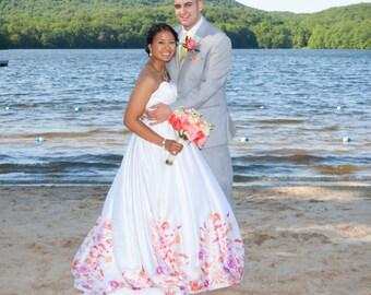Custom Colorful Floral Print Ballgown Wedding Dress Digital Paint Bridal Gown Handmade