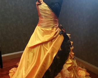 Halloween Wedding Dress with Orange and Black Bridal Gown Custom Made to Your Measurements