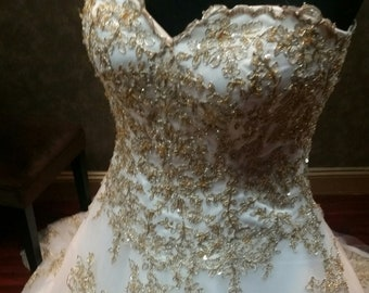 Gold Wedding Dress Etsy