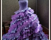 Orchid and Lilac Purple Wedding Dress with Straps, Purple Ballgown, Purple Bridal Gown, Alternative Wedding Dress, Unique Wedding Dress