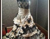 Steampunk Black and Champagne Wedding Dress, Vintage Gothic Wedding Dress, Vintage Wedding Dress, Champagne Wedding Dress
