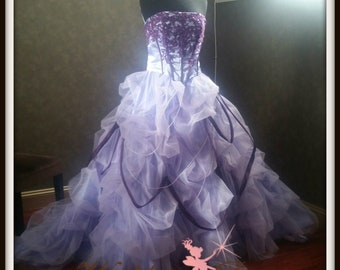 Lavender and Plum Wedding Dress with Exposed Corset Boning