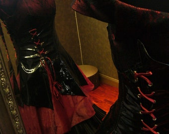 Black and Vampire Red Gothic Wedding Dress with Corset Custom Made to your Measurements