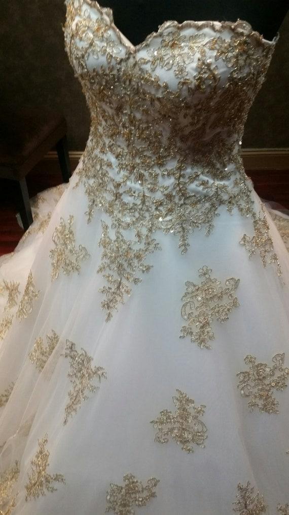 Gold and White Wedding Dress, Gold Wedding Dress, Gold Bridal Gown, Gold  Lace Wedding Dress, Royal Wedding Dress